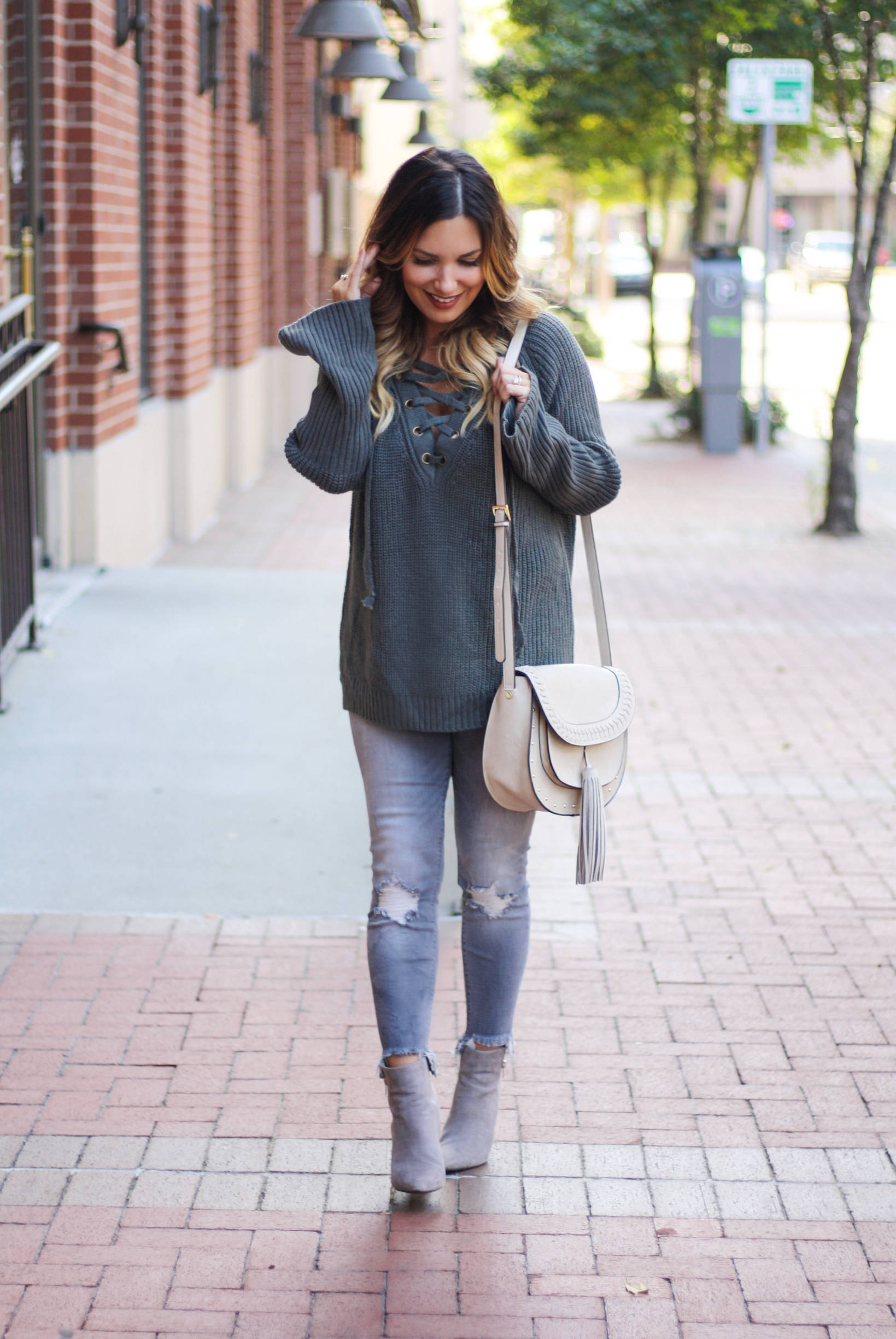 Oversized sweater and denim