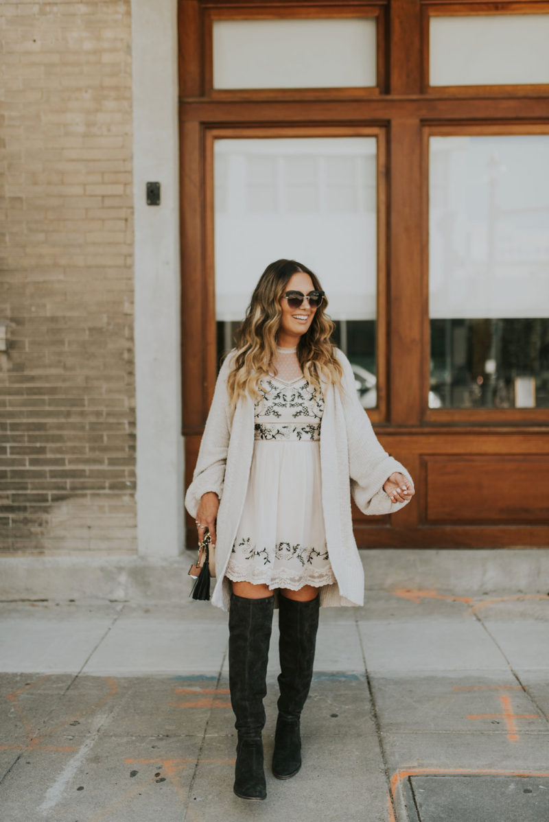 PERFECT NEUTRAL OUTFIT FOR FALL AND WINTER. EMBROIDERED DRESS AND BOOTIES ON MAJOR REPEAT THIS SEASON.