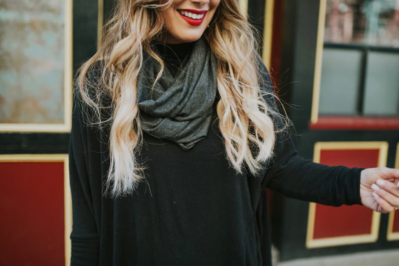 Adding layers to your ootd. The infinity scarf is easiest to layer with a tee and cardigan , with a sweater, a dress or with yoga pants and a sweatshirt. And, you don't have to figure out how to wrap it around your darn neck.