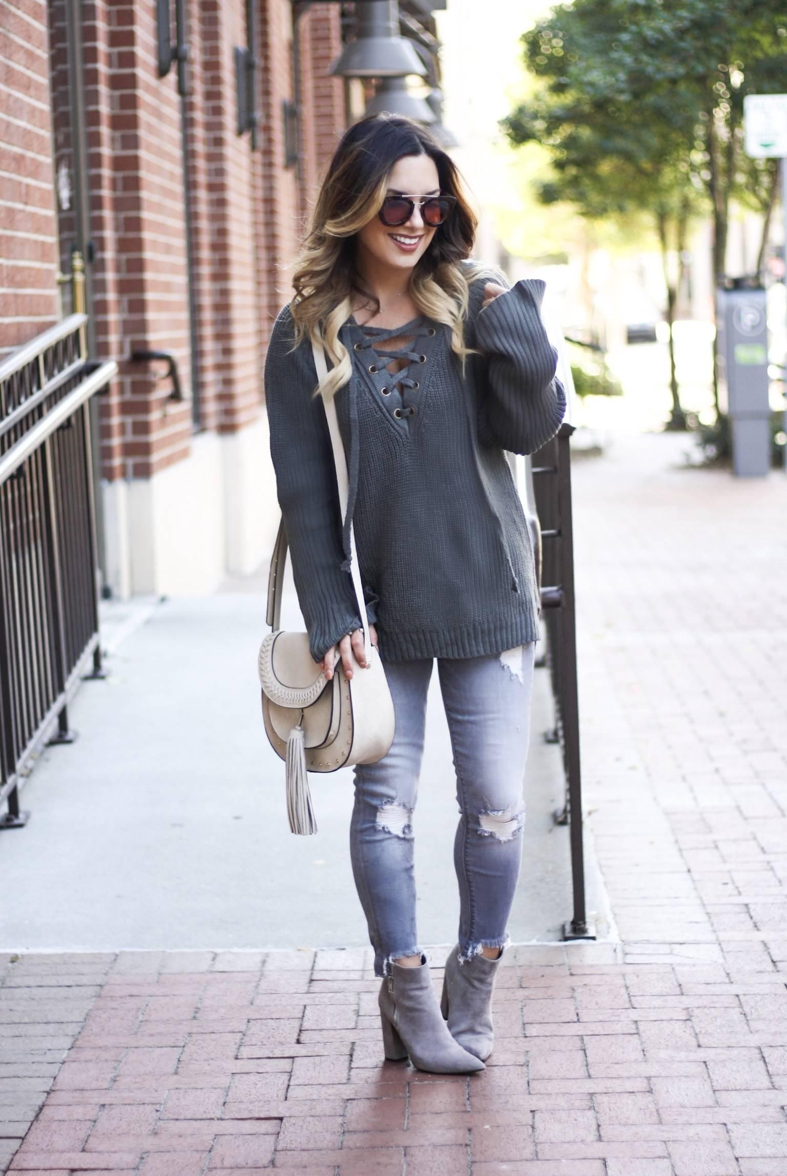 Oversized sweater and denim
