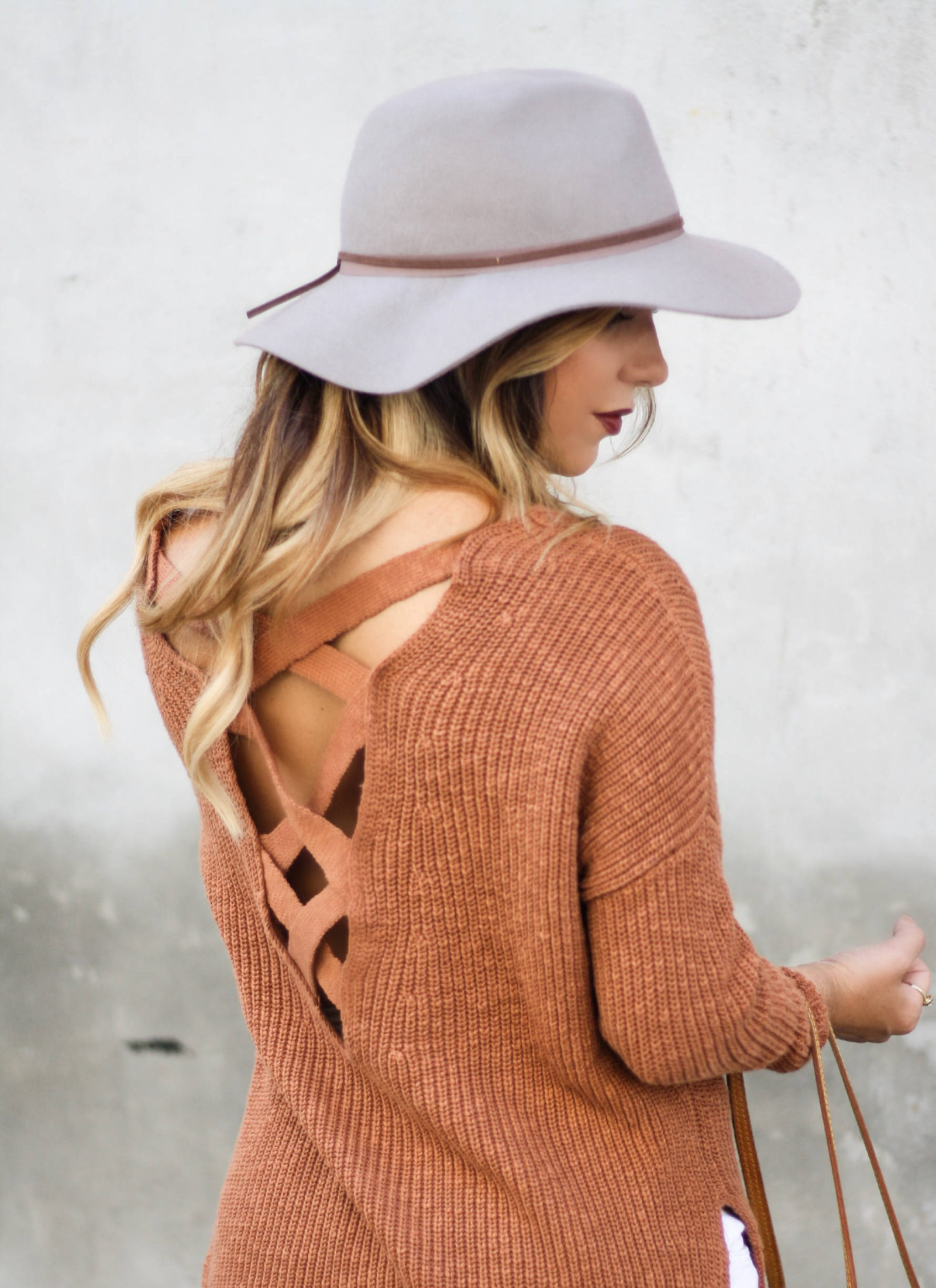 cozy shaker knit sweater + bright smile