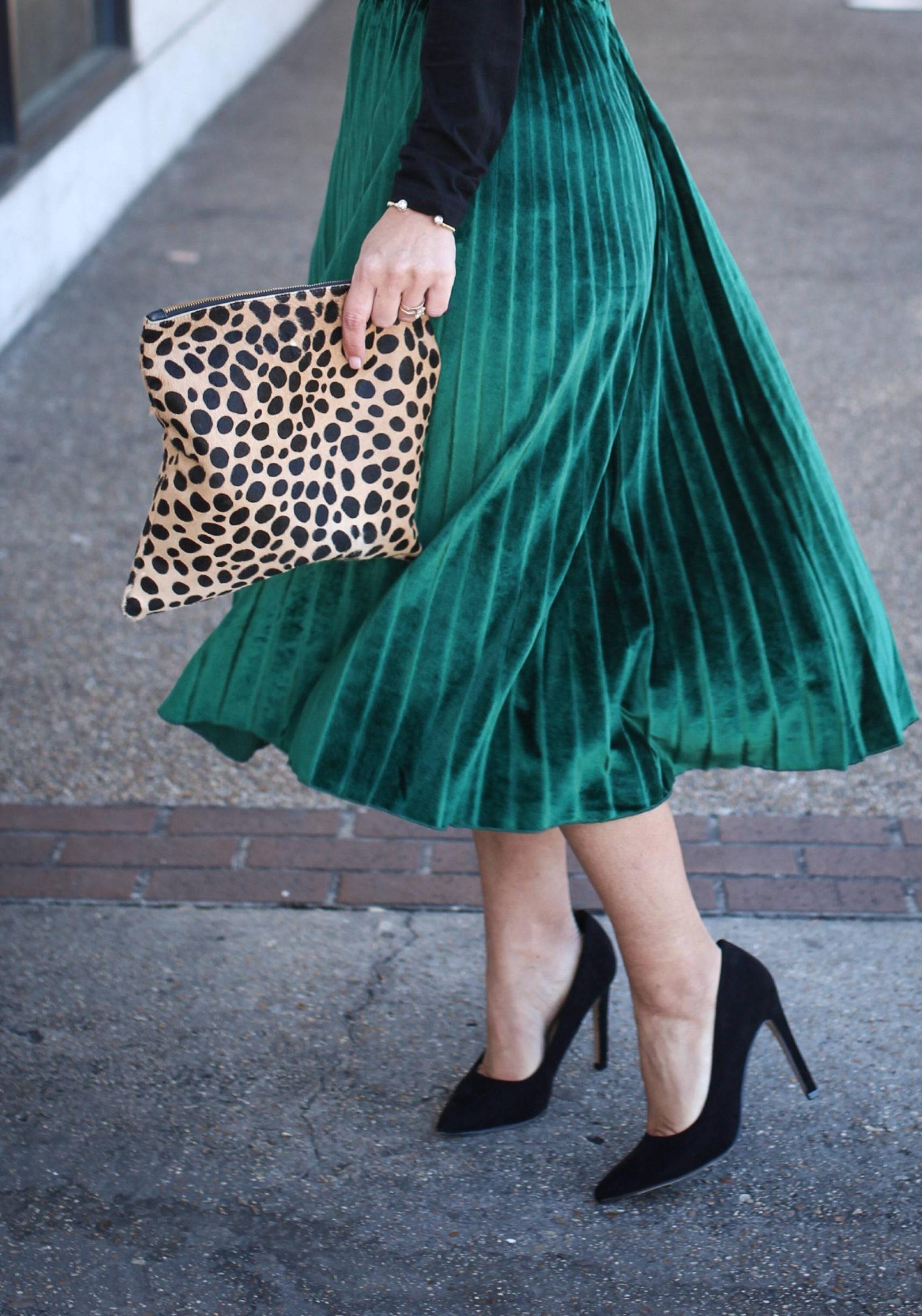 velvet pleated skirt + Christmas tradition