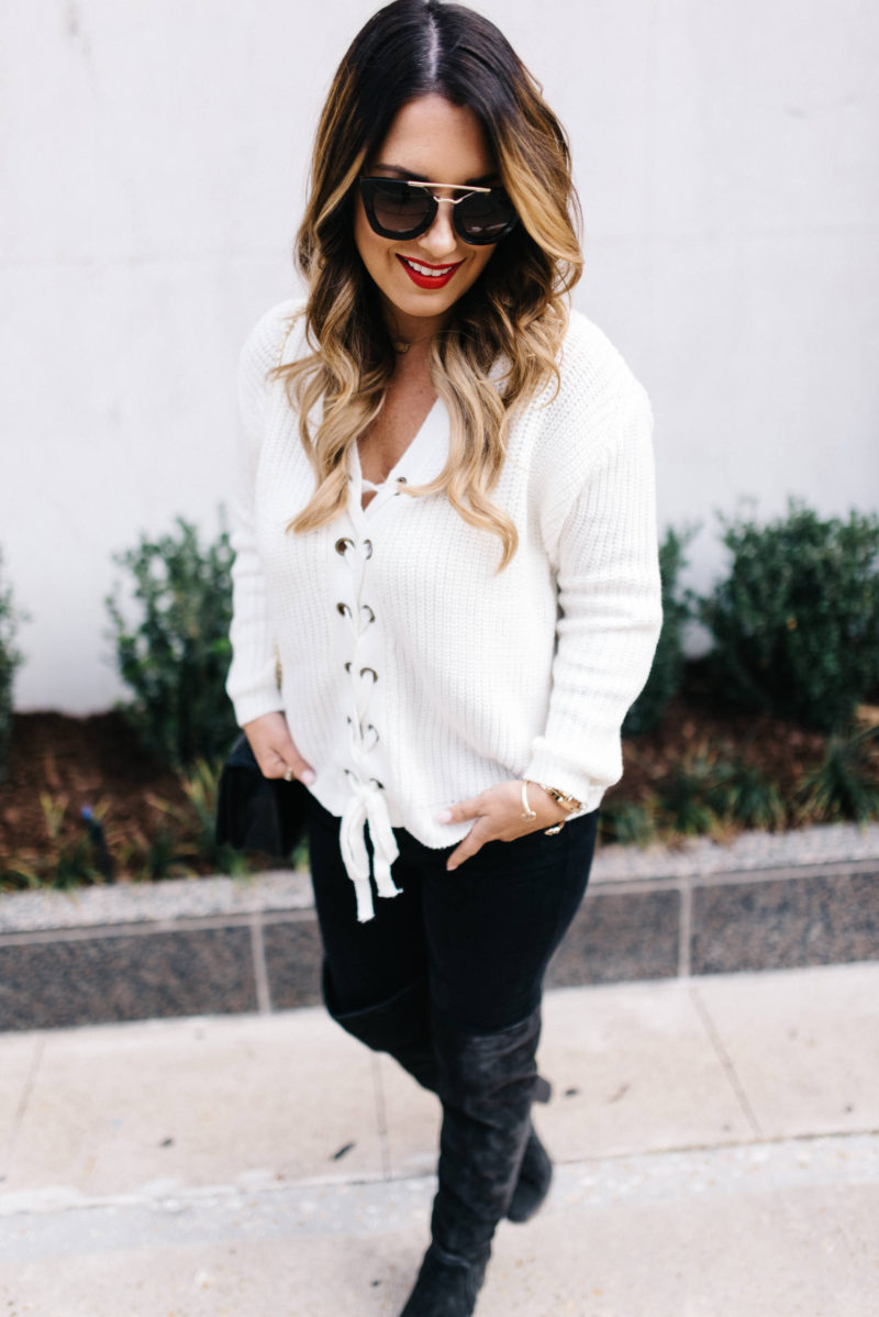 lace up sweater with Chicwish