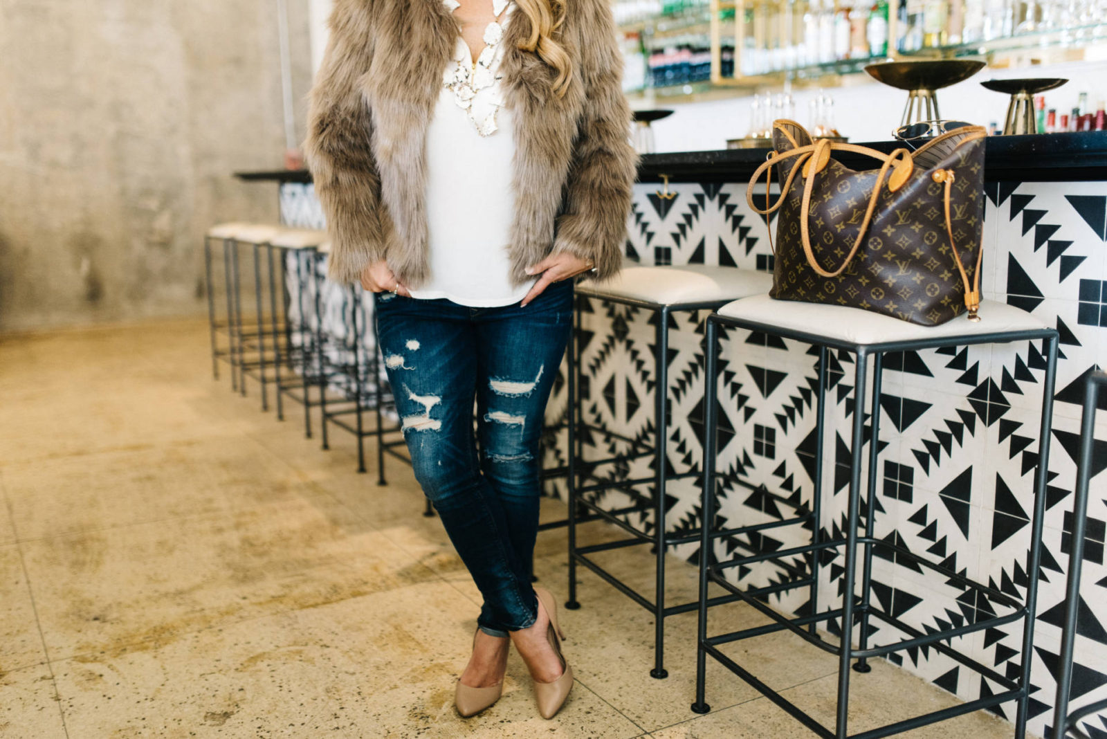 fur coat + date night ideas