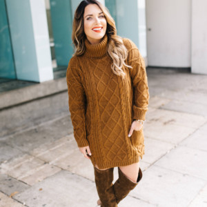 how to rock the classic cable knit sweater dress