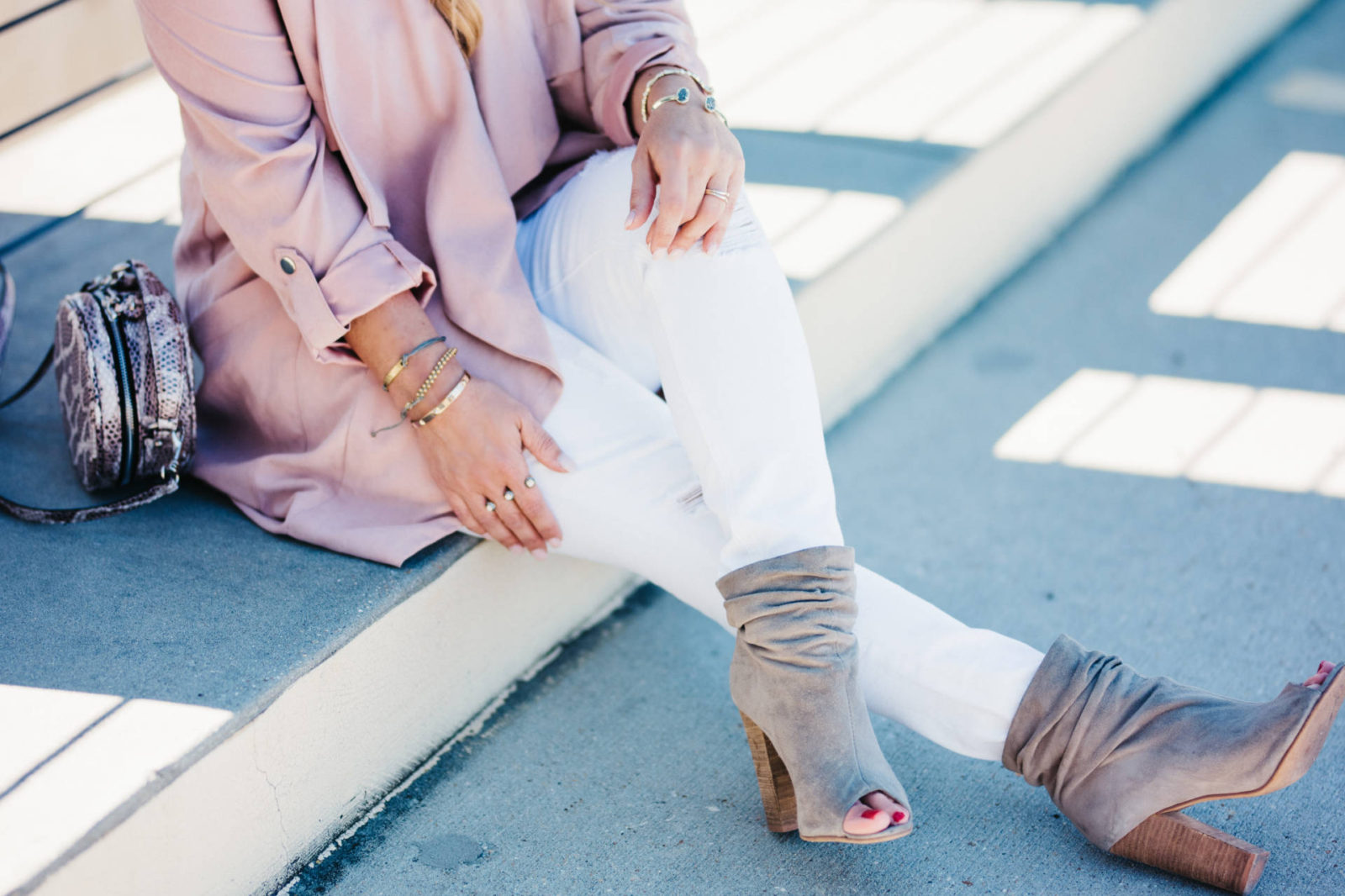 Blush trench and white denim for Valentine's Day + Nordstrom Giveaway