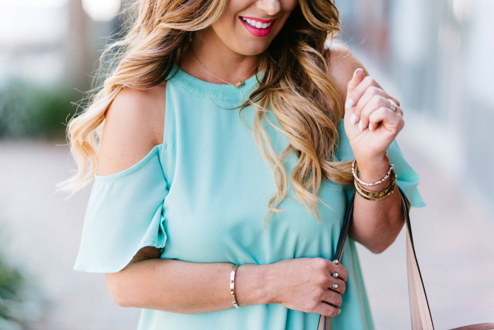 mint green cold shoulder dress