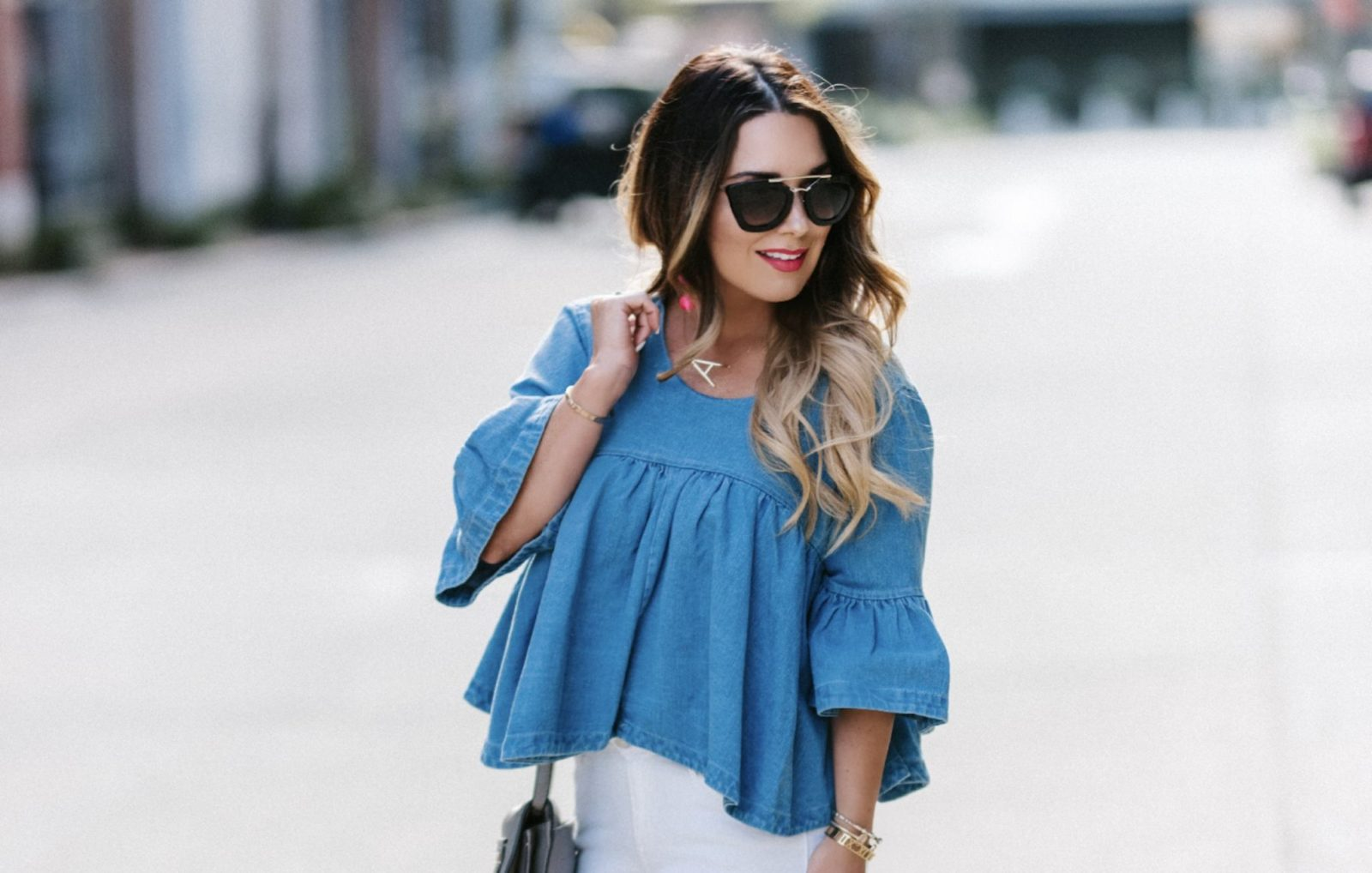 Day to night in this darlin' denim top