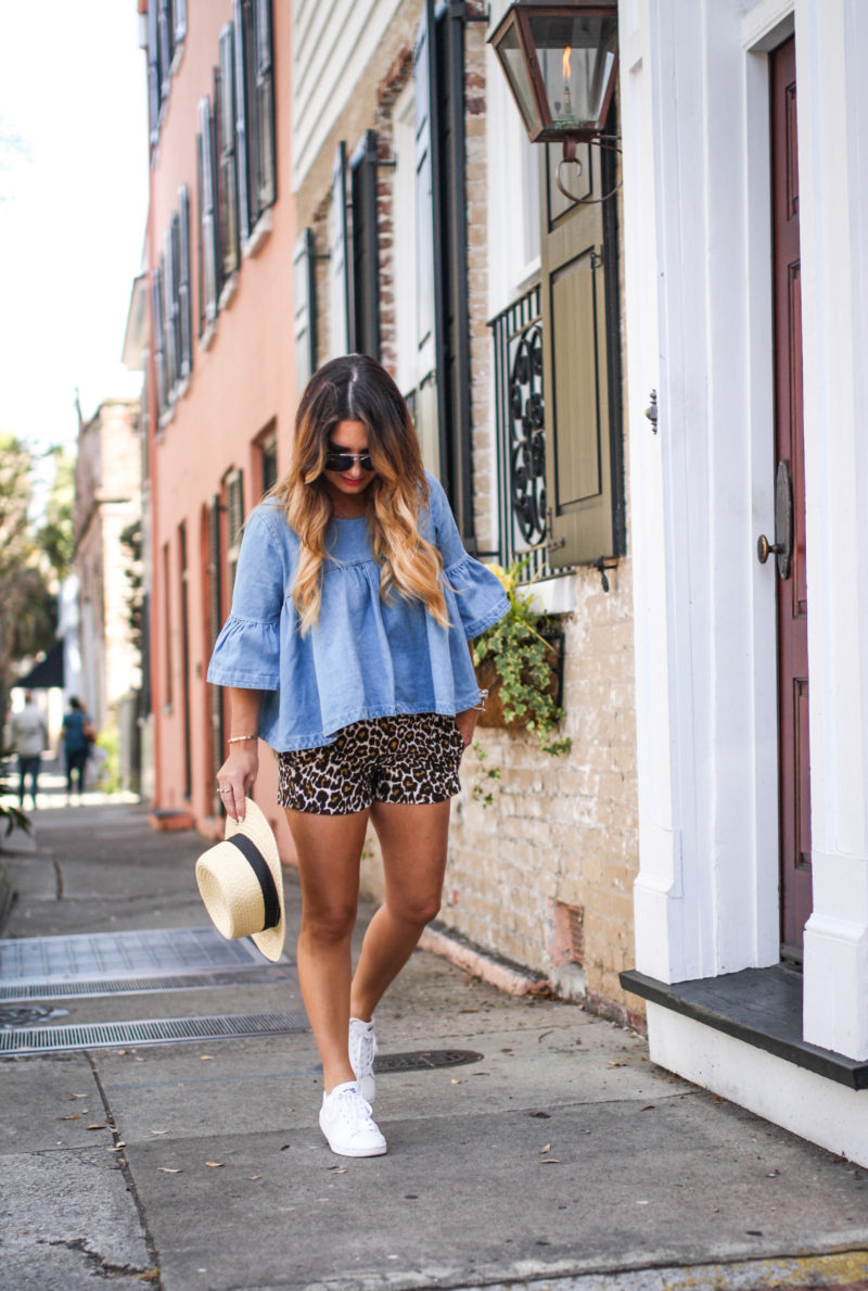 Touring Charleston by bike in the perfect denim top. Read more to see how I styled this top two ways.