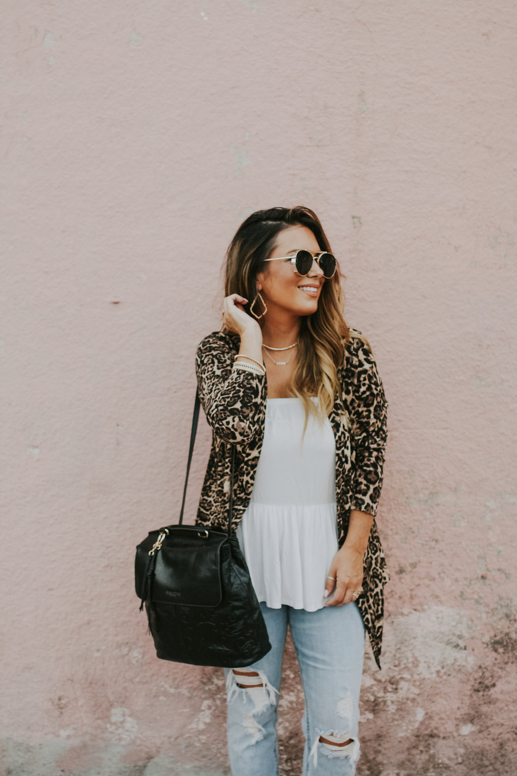 Leopard cardigan for under $35. Read more to learn multiple ways to style a basic cardigan.