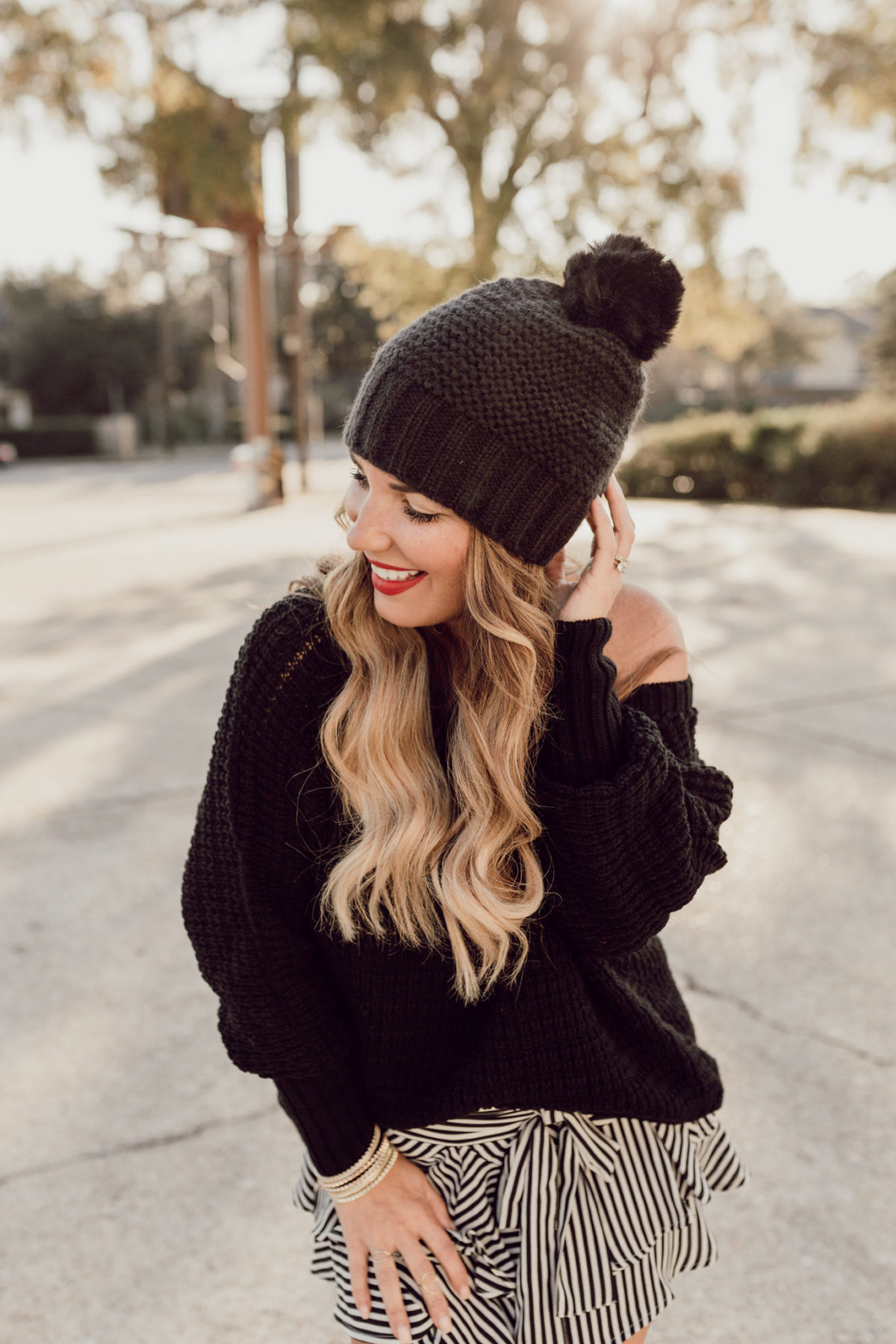 CHECK OUT MY LIBBY EDELMAN POM BEANIE THAT IS PART OF THE JACQUES PENNE CURATED COLLECTION WITH JCPENNEY