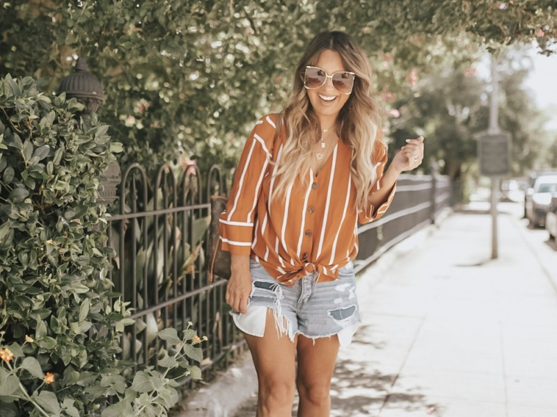 STRIPED TOP IN RUST CAN BE PAIRED WITH DENIM SHORTS AND WITH DENIM JEANS WHEN THE WEATHER GETS COOLER. READ MORE ON THE BLOG.