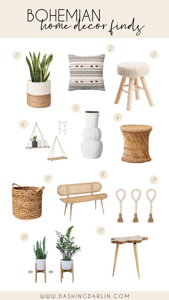 ROUNDED UP MY TOP FAVORITE HOME DECOR FINDS THAT ARE FOR ALL MY OTHER BOHEMIAN LOVERS OUT THERE. THESE ARE AFFORDABLE ITEMS THAT ARE EASY TO ADD TO ANY CORNER IN THE HOUSE THAT NEEDS A LITTLE POP OF CUTENESS.