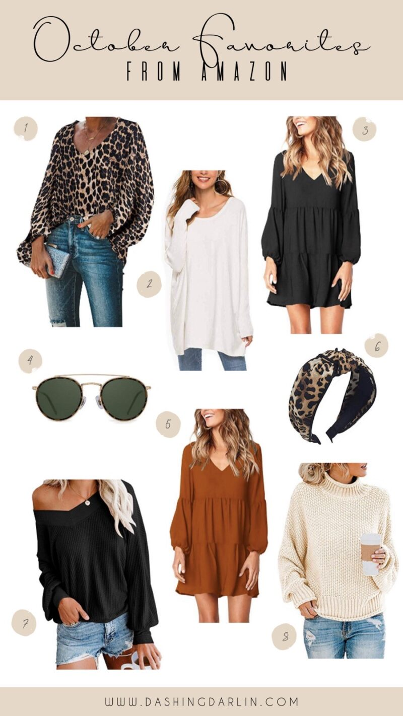 FALL FAVORITES FROM AMAZON ALL UNDER $30. LEOPARD PRINT AND COMFORTABLE SWEATERS ARE MY GO TO FOR FALL STYLE. SHARING SOME RAYBAN DUPES TOO.