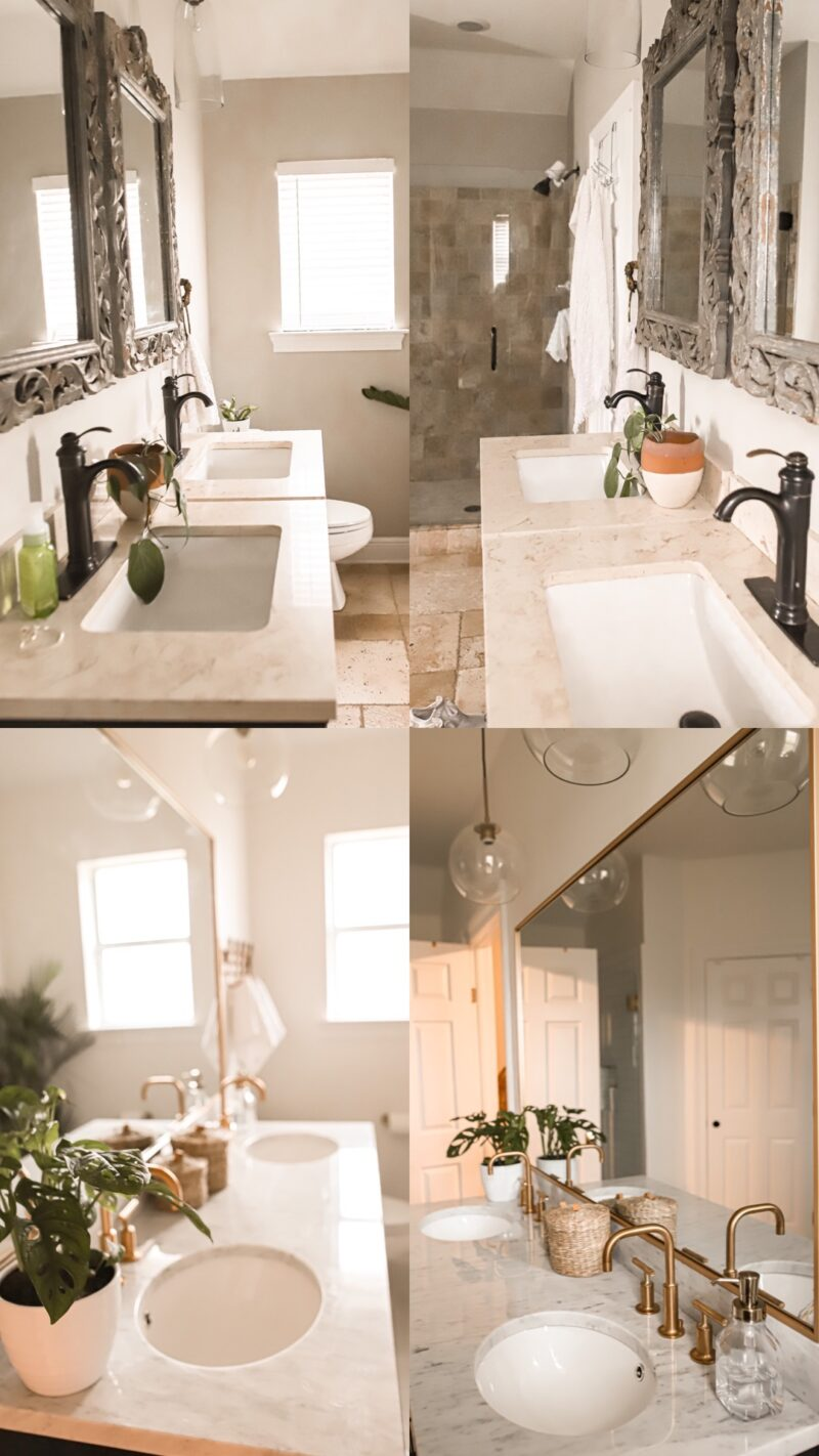 Transformed my master bathroom and ordered everything from Wayfair. New mosaic tile, subway tile, gold faucets, new vanity and more-- shop for all of these items online at Wayfair.