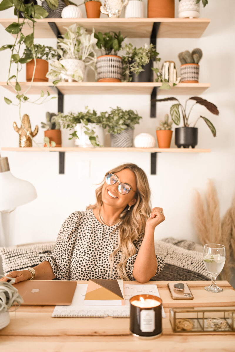 My boho style office on a budget. Amazon home finds from plants to baskets to rugs.