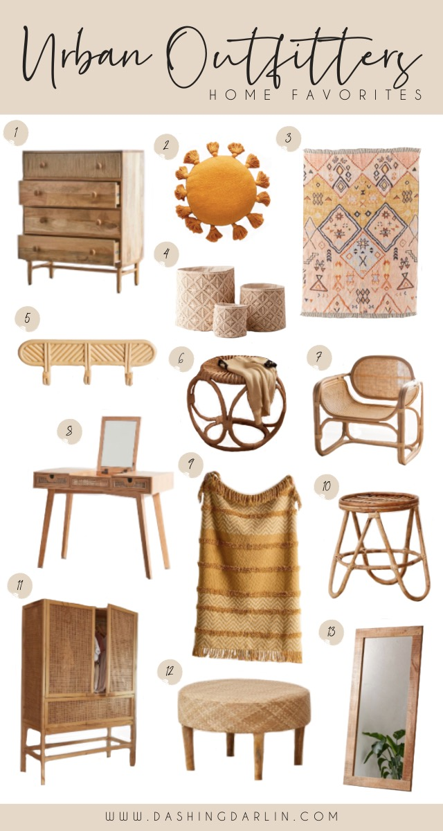 BOHEMIAN, TRENDY HOUSE DECOR FINDS AT UO~ SHARING MY FAVORITE RATTAN CHAIRS, OTTOMANS, CANE FURNITURE, MACRAME, RUGS, AND FRINGE THROW PILLOWS~ ALL ON THE BLOG