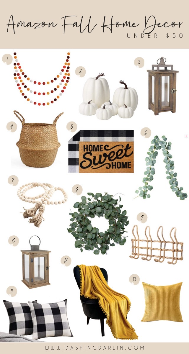 Fall pumpkins, garland, wreaths, and more from Amazon~all under $50!!